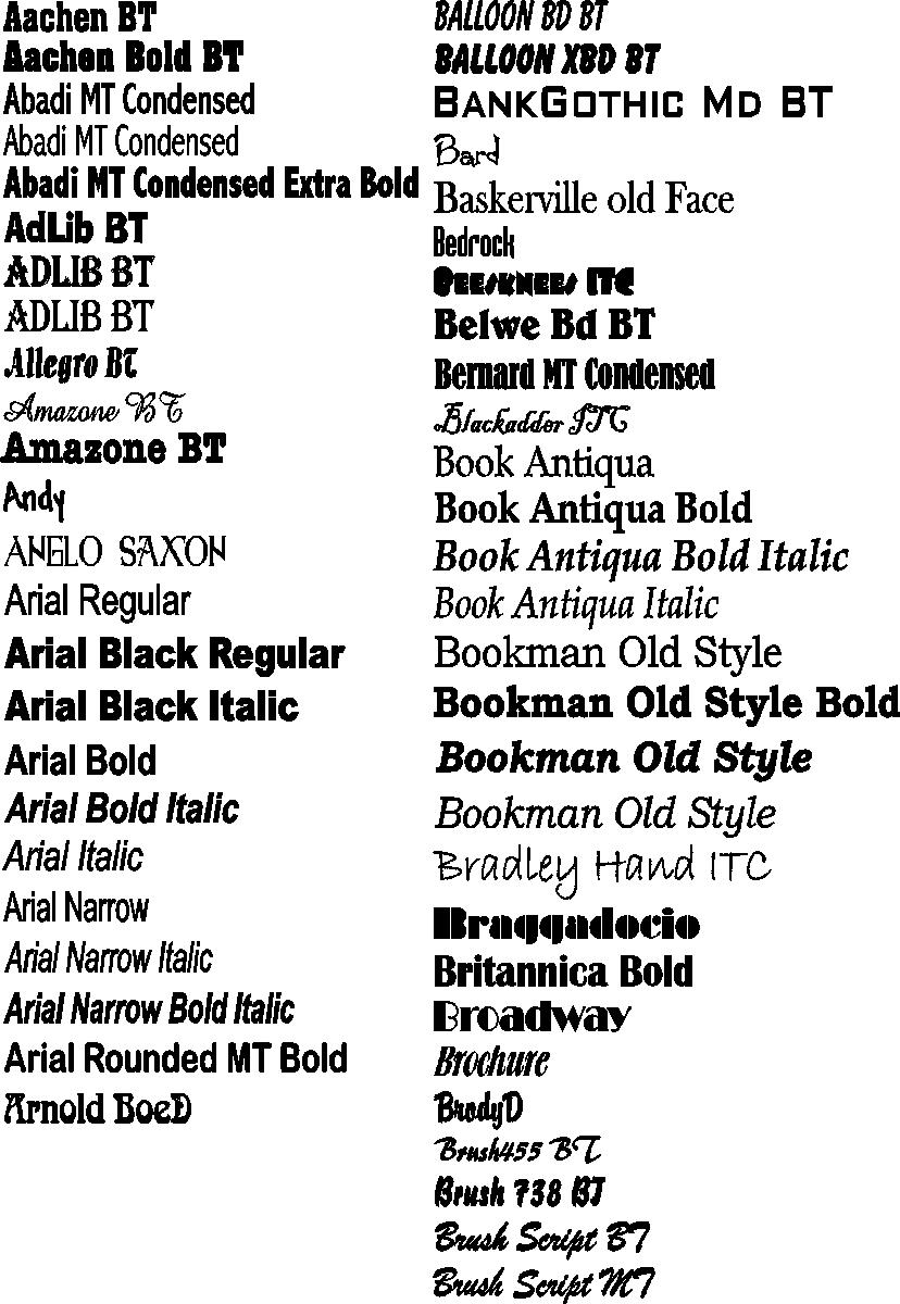 Coastal Graphics LLC - Font Styles